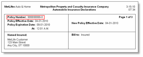 Policy Number -- Help